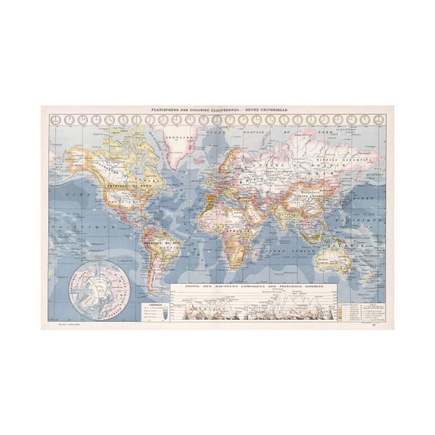Vintage Map Of The World 1900 World Map T Shirt Teepublic