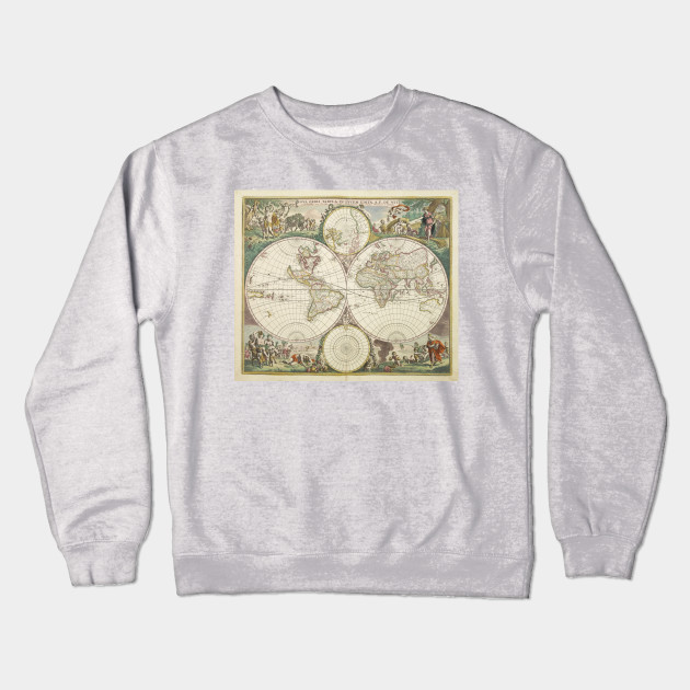World Map Sweater.Vintage Map Of The World 1680 World Map Crewneck Sweatshirt