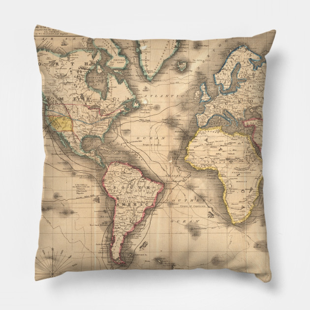 Vintage Map Of The World 1850 World Map Pillow Teepublic