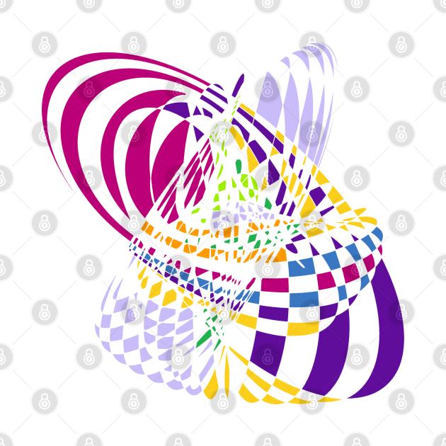 Algorithmic Art Pendulum | Harmonic Motion Pattern Checkered Neon Pink Yellow Purple White