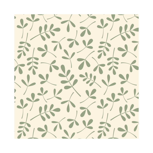 Assorted Leaf Silhouettes Green on Cream