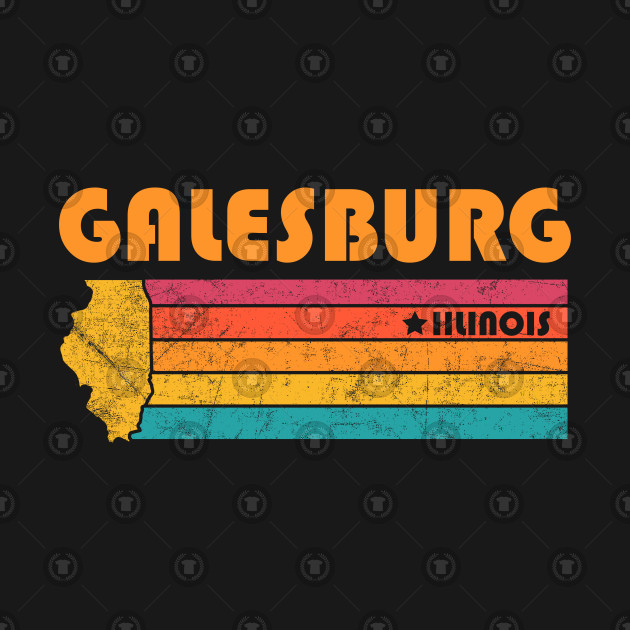 Galesburg Illinois T-Shirt Vintage City Retro Souvenir US State Silhouette Lover Gift With Star
