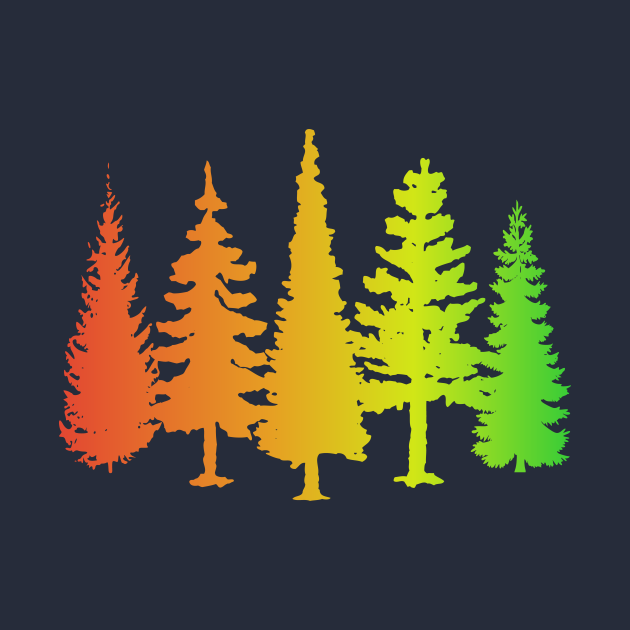 Colourful trees silhouettes