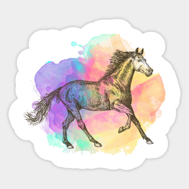 Colorful Horse Gift Horse Lovers Racing Riding Sticker