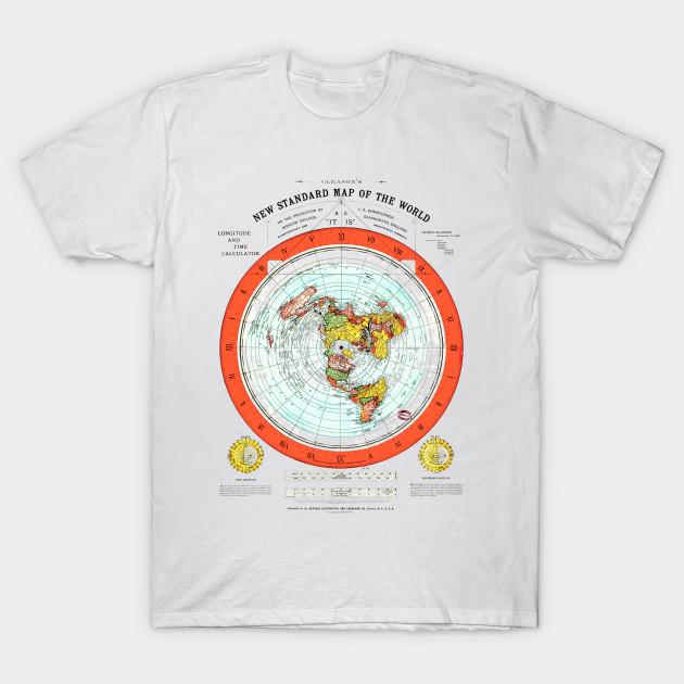Flat Earth Map   Flat Earth Map   T Shirt | TeePublic
