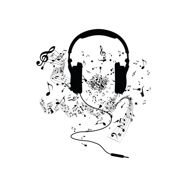 headphones and music notes - musical note