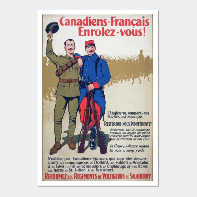 Wwi Propaganda Poster 0268 Canadiens Français Enrolez Vous Langleterre Rempart De No Libertés Est Menaçée Reformez Les Régiments De Voltigeurs De