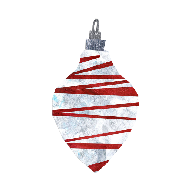 Bauble - Trad scribbly red and white