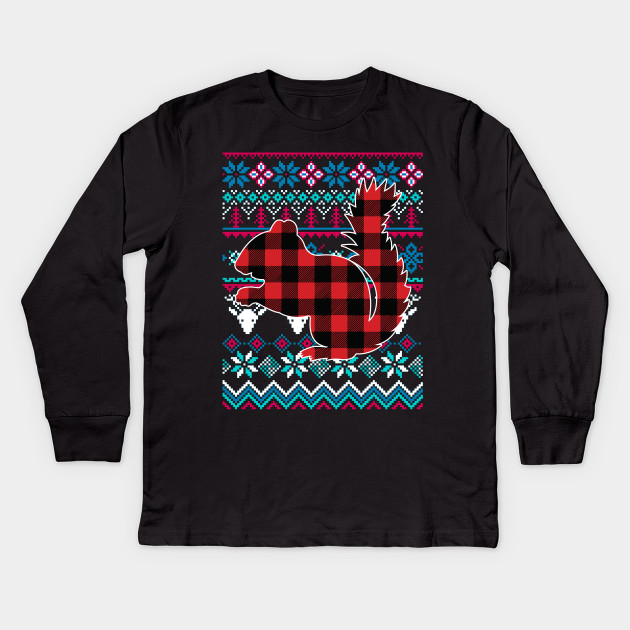 cd307e6584 Plaid Squirrel Ugly Christmas Sweater Funny Holiday T-Shirt Kids Long  Sleeve T-Shirt