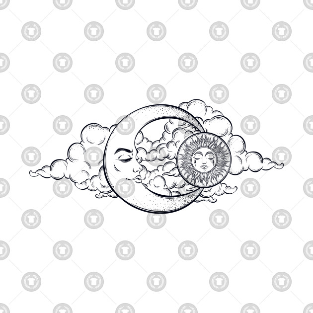 Hand Drawn Moon And Clouds Tattoo