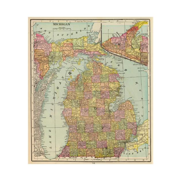 Vintage Map Of Michigan 1909 Michigan Map T Shirt Teepublic