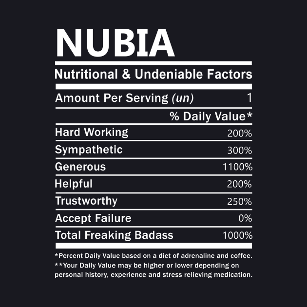Nubia Name T Shirt - Nubia Nutritional and Undeniable Name Factors Gift Item Tee