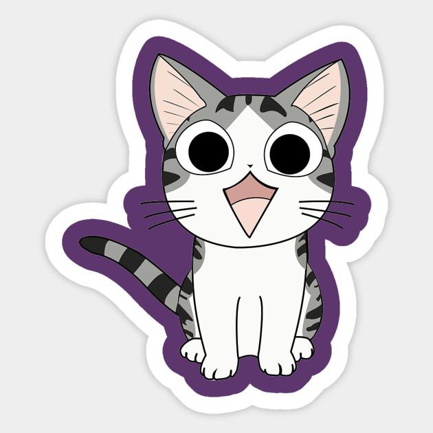 anime chi cat sitting anime cats sticker teepublic