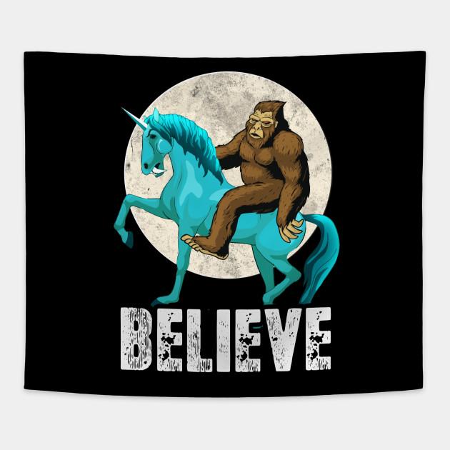 7eb4953e Bigfoot Riding Unicorn T Shirt Funny Sasquatch Vintage Tees Tapestry