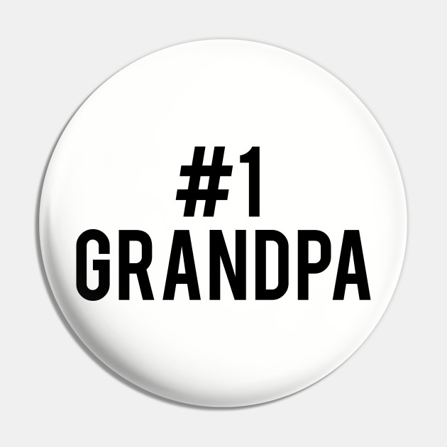 #1 Grandpa Number One Grandfather Pinback Button Pin Badge