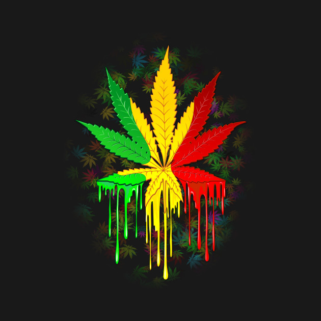 Marijuana Leaf Rasta Colors Dripping Paint Marijuana Leaf Rasta Colors Dripping Paint