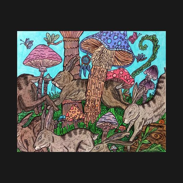 Rabbits Running Through Mushroom Forest