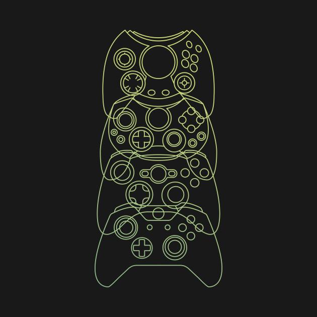 Xbox Controller Evolution (Green Lines)