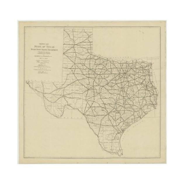 Vintage Texas Highway Map 1919 Texas Map TShirt TeePublic