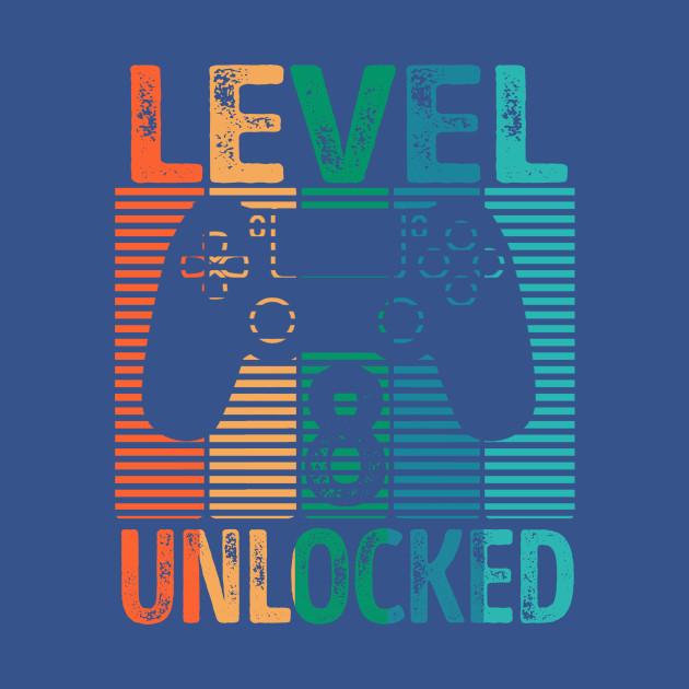 Gamer Level 8 Unlocked Kids Shirt 8th Birthday Video Game