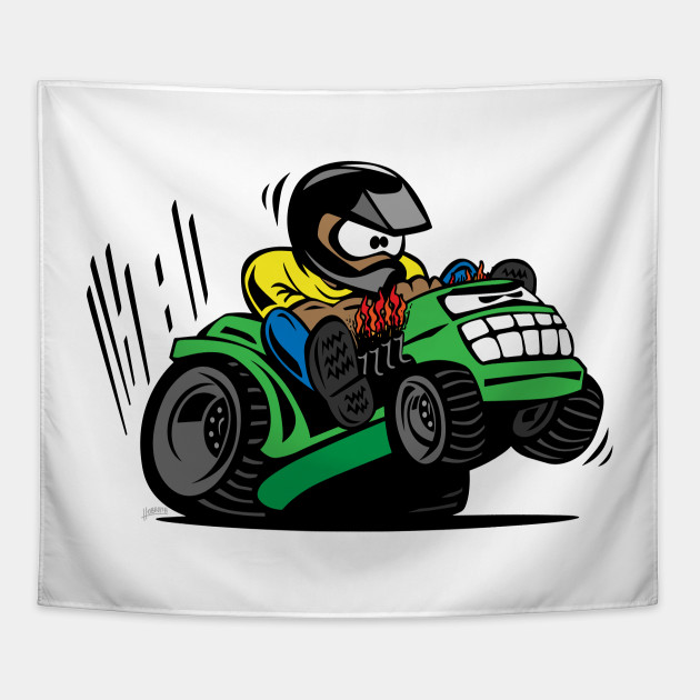 Lawn Mower Tractor >> Racing Lawn Mower Tractor Cartoon
