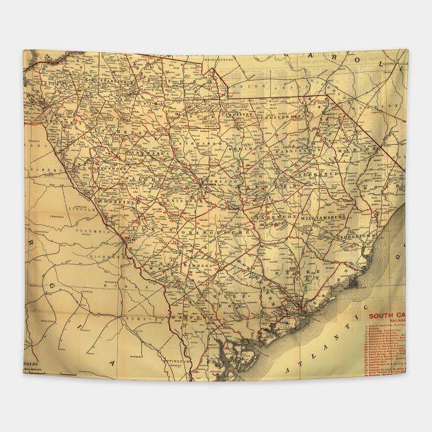 Vintage South Carolina Map.Vintage Map Of The South Carolina Railroads 1900 South Carolina