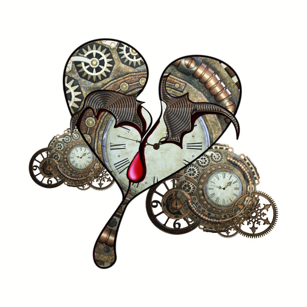 Steampunk heart with clocks and gears