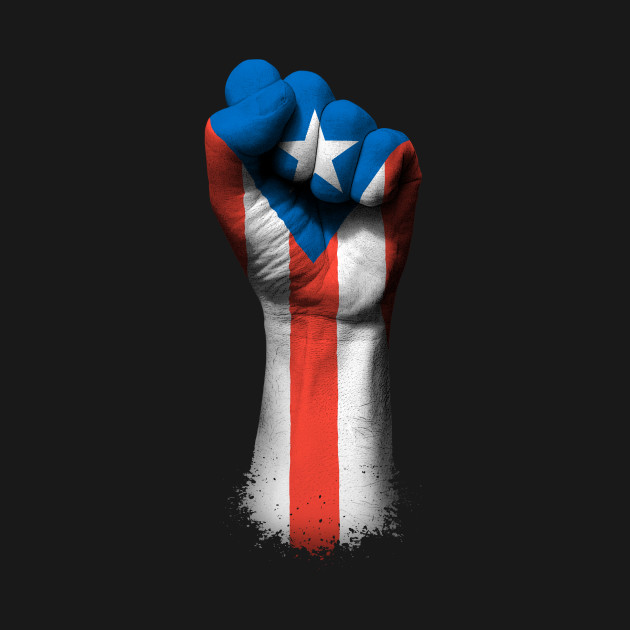 Flag of Puerto Rico on a Raised Clenched Fist