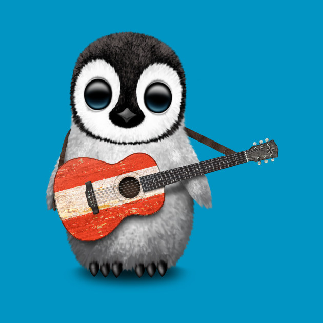 Baby Penguin Playing Austrian Flag Guitar