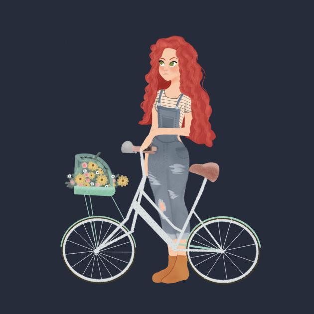 Red Hair Girl Bicycle Spring