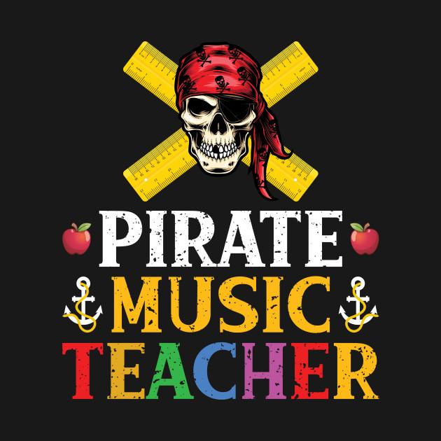 Pirate Music Teacher Funny Halloween Skull Gift T-Shirt