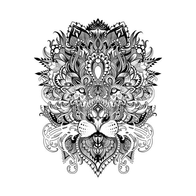 Black And White Lion Mandala Pattern Line Art Drawing
