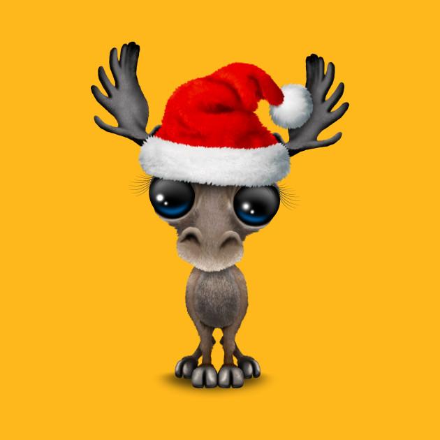 dd0acd8f Baby Moose Wearing a Santa Hat - Christmas - T-Shirt | TeePublic