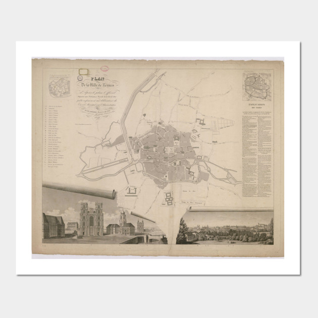 Vintage Map Of Rennes France 1829 Rennes France Posters And
