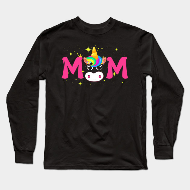 Womens Unicorn Mom Birthday Shirt Matching Family Party T Long Sleeve