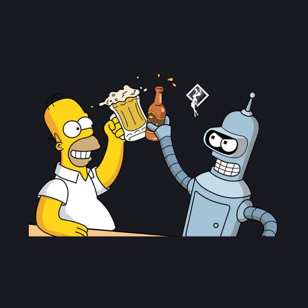 Futurama Bender and Homer Simpson