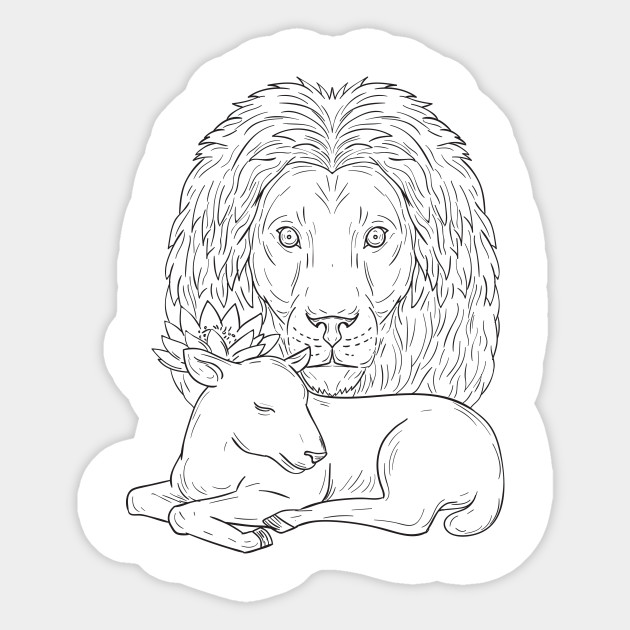 Lion Watching Over Sleeping Lamb Drawing Lion Watching Over