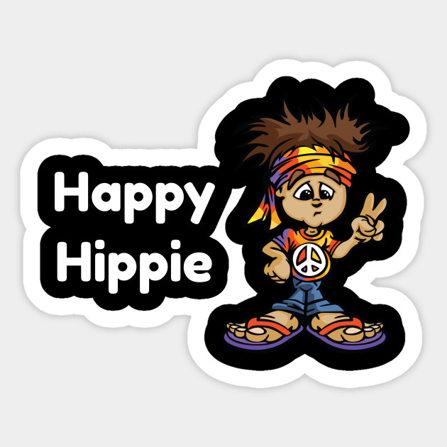 Happy Hippie Love Peace Sign Cartoon Character Hippie Love