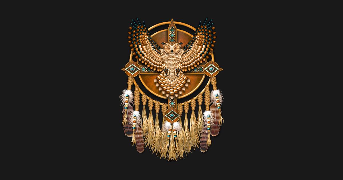Native American Great Horned Owl Mandala Native American