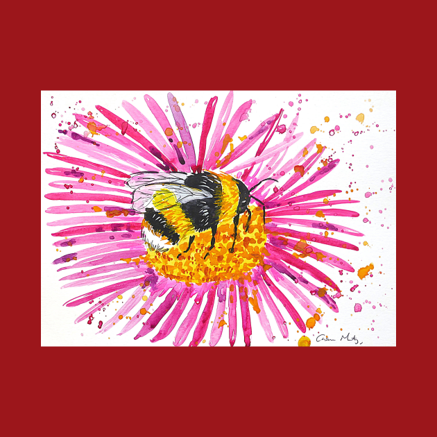 Bumble bee and Pink Flower