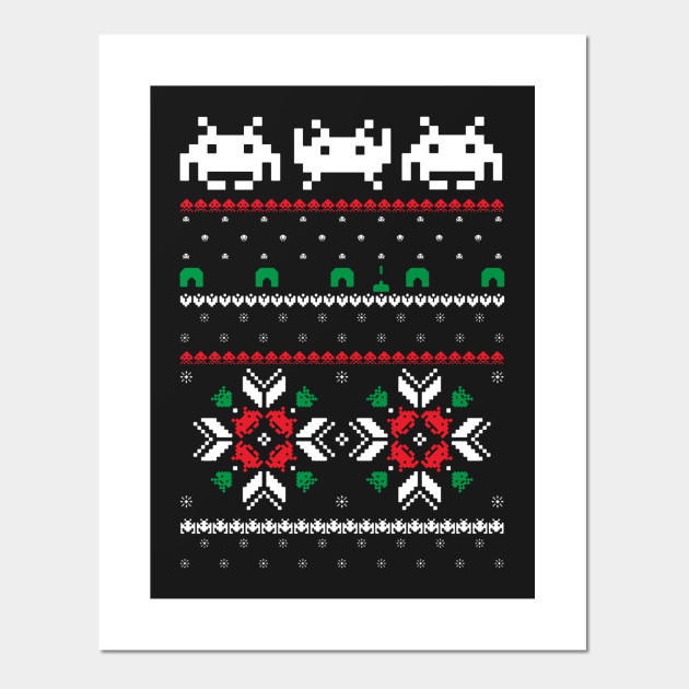 a99bc465898317 Retro Space Video Game 8 bit Pixel Ugly Christmas Sweater - Retro ...