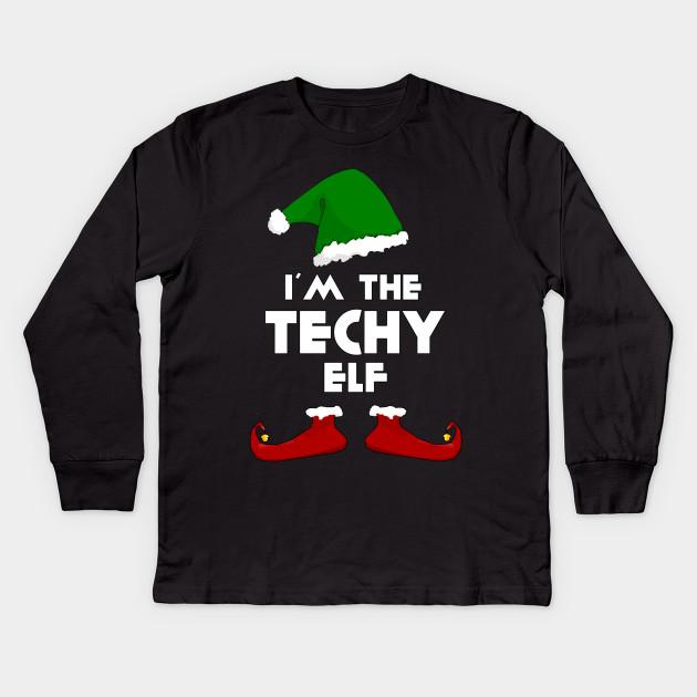5b1fdb464b I'm The Techy Elf - Family Funny Christmas Shirts Kids Long Sleeve T-Shirt