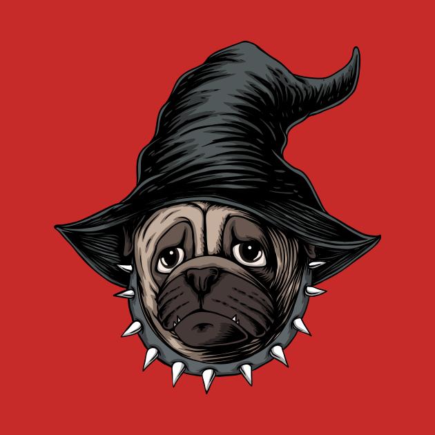 Halloween pug dog wear black hat witch