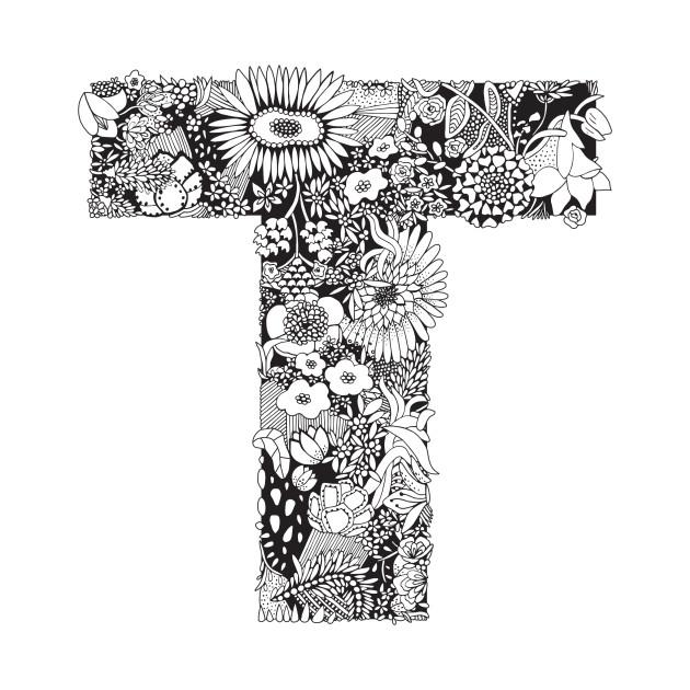 Floral Letter T