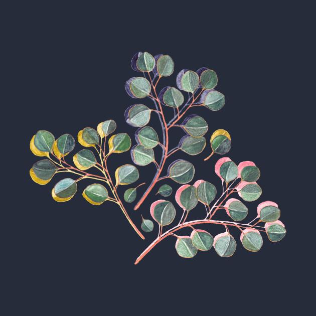 Simple Silver Dollar Eucalyptus Leaves on Navy Blue