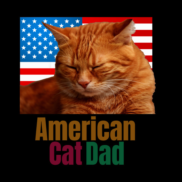4th of July American Flag Cat Dad
