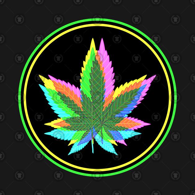 Marijuana Weed Leaves Psychedelic Neon Colored 3 Marijuana T