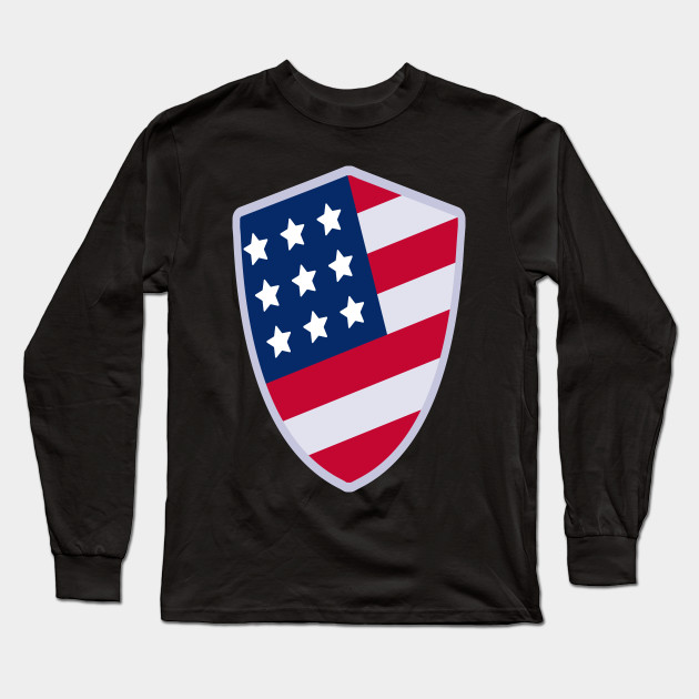 322acc4fe1e US Flag Shield - American Independence Day - Long Sleeve T-Shirt ...