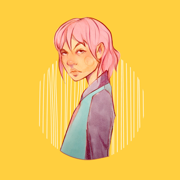 Pastel colors girl illustration