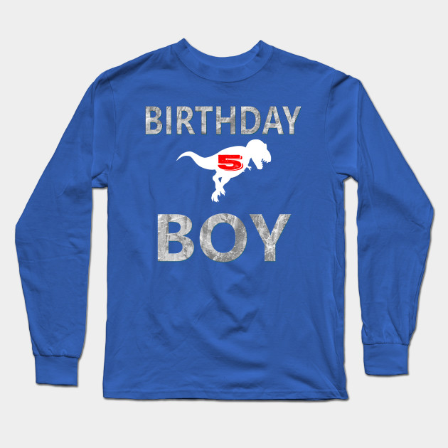 5th Birthday Shirt Boy Age 5 Dinosaur Theme Long Sleeve T